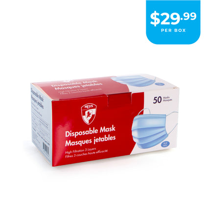 Disposable Face Masks (1 Box / 50 pcs. per box) - Blue