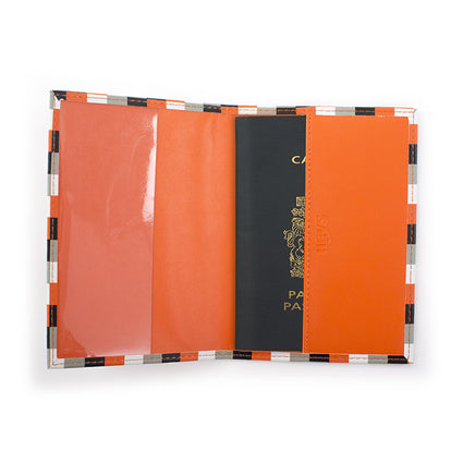 Orange Check Passport Holder