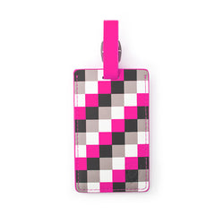 Pink Check Luggage Tag