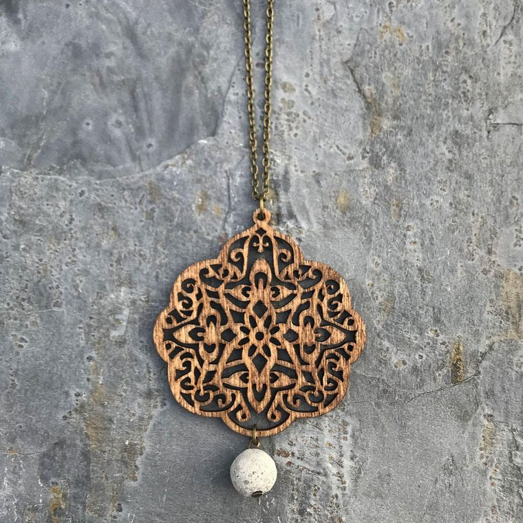 Birch Wood Medallion Pendant with Concrete Bead Necklace, Natural, Boho, Layering Necklace - Wood and Concrete Collection