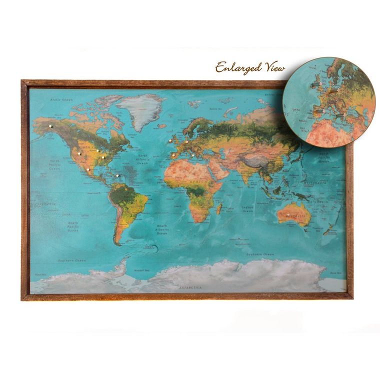 24x16 Teal Magnetic World Map - SM002