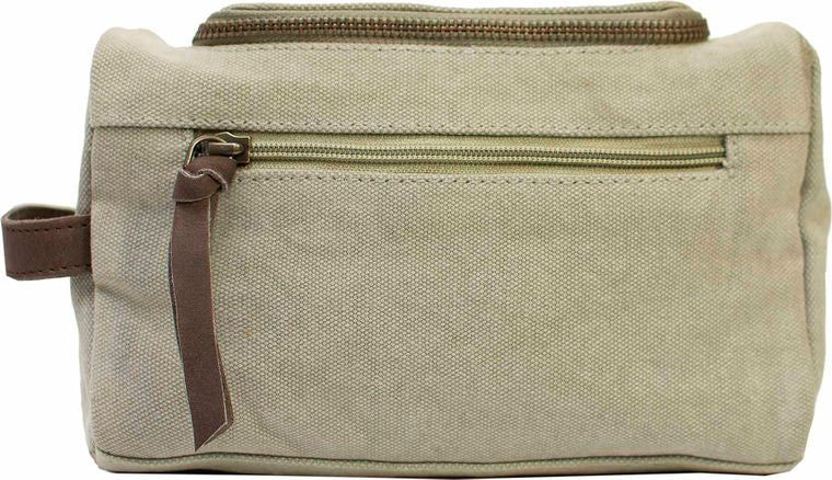 Ash Grey Canvas Shaving/Cosmetic Bag