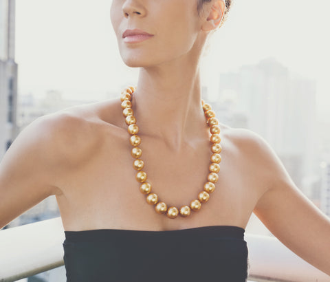 The Palawan strand from Jewelmer comprises 16- to 18-mm flawless round golden pearls matched according to shape, size, color, and luster gathered over a span of 37 years.  Photo courtesy Jewelmer