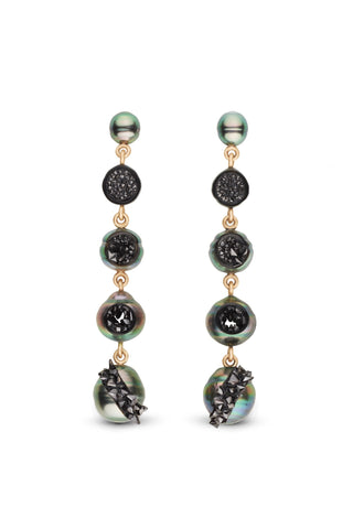 Earrings in 14k yellow gold with 6–11 mm Tahitian cultured pearls with 14 cts. t.w. black diamonds, by Hisano Shepherd of little h.