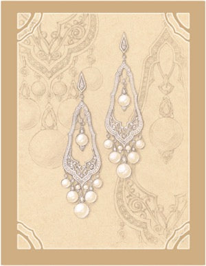 Alhambra earrings by Alexandra Neskreba of NES Jewelry Design Studio in Russia. Proposed design to be made in 18k gold with diamonds and pearls.