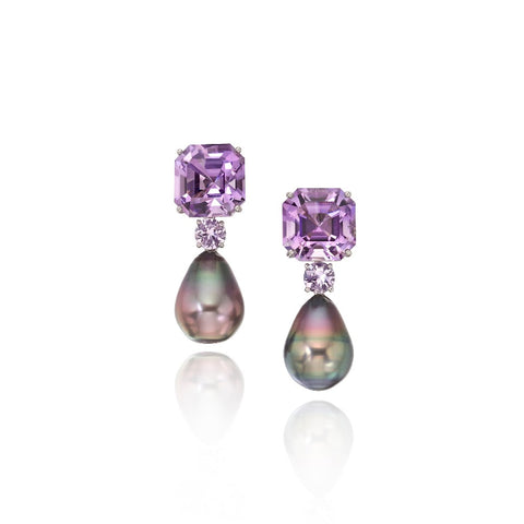 Earrings in 18k gold with Tahitian pearls and lavender-color gemstones, from Assael