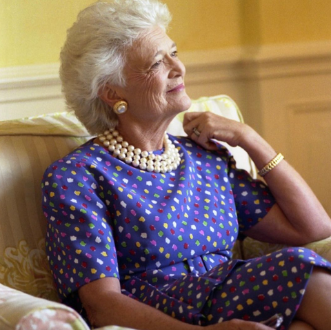 Barbara Bush in one of her famous pearl necklaces Source: @bushfdn