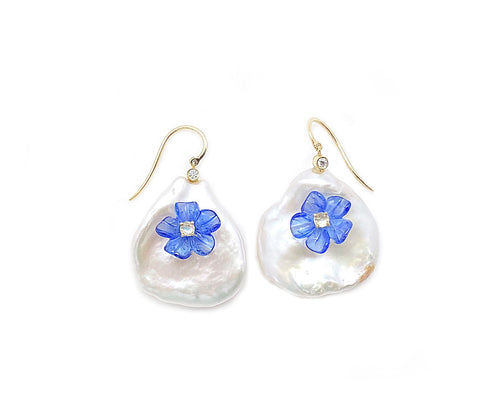 Something Blue Freshwater Pearl earrings by Dilly Kirby of Elizabeth Blair Fine Pearls