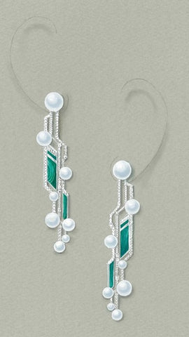 Circuit earrings by Juhyun Song of Amy Eujeny Fine Jewelry in South Korea. Proposed design to be made with South Sea pearls, malachite, and diamonds.