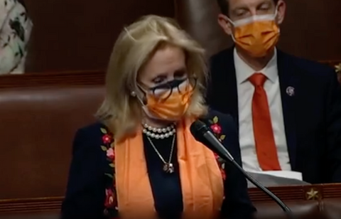 Debbie Dingell in pearls at a rally Source: @repdingell