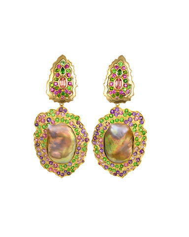 Mardi Gras earrings from Paula Crevoshay of Crevoshay