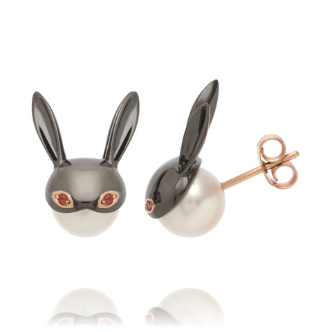 Lady Mischievous earrings in 18k rose gold with black rhodium, freshwater pearls, and pink tourmaline by Mika Murai, jewelry designer, Mika Jewellery. Japan