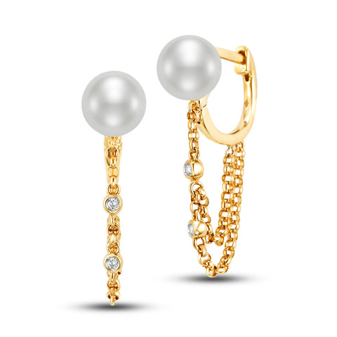 Chain Drop Freshwater Pearl earrings by Mastoloni