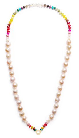 Rainbow Foundation necklace with baroque freshwater pearls and a mix of gemstone beads, $2,500; Harwell Godfrey, email info@harwellgodfrey.com for purchase