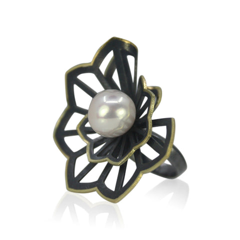 Double Hyacinth Fold Freshwater Pearl ring by Karin Jacobson
