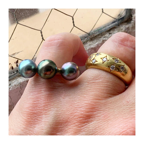 Ring in 14k yellow gold with three 9 mm cultured Tahitian pearls by Matt Harris Designs