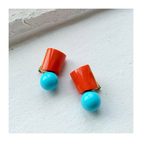Earrings in 18k and 18.5k yellow gold with 12.5 grams of coral and 7.8 grams of turquoise by Sean Gilson for Assael