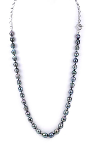 Thirty-five-inch-long sterling silver rolo chain necklace with 8–10.5mm cultured Tahitian pearls, $1,650; Imperial Pearl, email Customerservice@imperialpearl.com for purchase