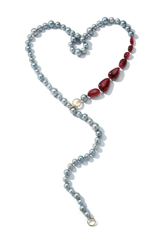 Bubble necklace with 9–11 mm gray Tahitian pearls, 126 cts. pink tourmaline, and 0.49 ct. t.w. diamonds with an 18k gold clasp is approximately 40 inches in length, $19,540; Katherine Jetter