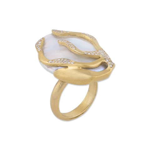 Lydia ring in 22k yellow gold with a flat white freshwater keshi pearl and 0.35 ct. t.w. diamonds, $5,710; Lika Behar