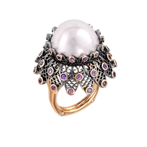 Black Lace White South Sea Pearl ring by Brenda Smith of Brenda Smith Jewelry