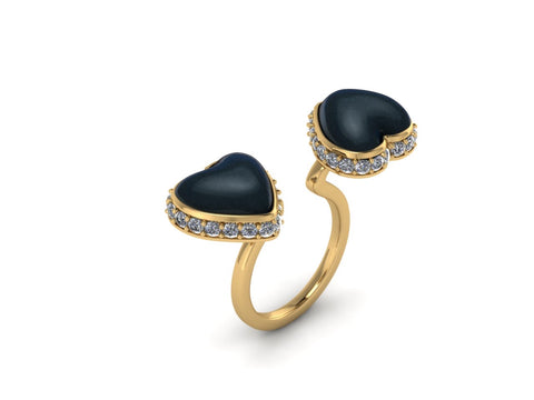 Open ring in 14k yellow gold with Australian South Sea heart-shape mabé pearls and diamonds, $2,800; email alexis@leximazzdesigns.com at LexiMazz Designs for purchase