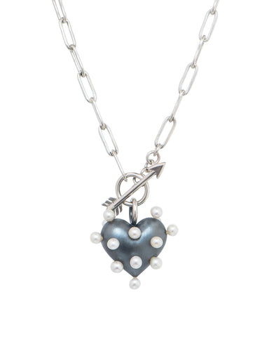 Puffed heart necklace in sterling silver with freshwater pincushion pearls, $860; Rachel Quinn