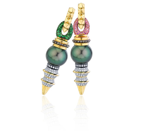 Elise + Zaha Petite Dagger Pearl earrings in 18k yellow gold with a pair of 12.2 mm Tahitian pearls, 1.4 cts. t.w. colorless diamonds, 0.82 ct. t.w. pink sapphires, and 0.76 ct. t.w. tsavorite garnets, $15,456; email Sales@rosavanparys.com with purchase inquiries