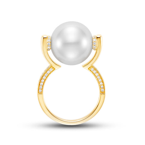 Floating White South Sea Pearl ring by Mastoloni