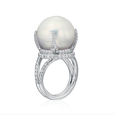 Ring in 18k white gold with a 16–17 mm white South Sea pearl and 1.33 cts. t.w. diamonds, $18,000; available online at Baggins Pearls