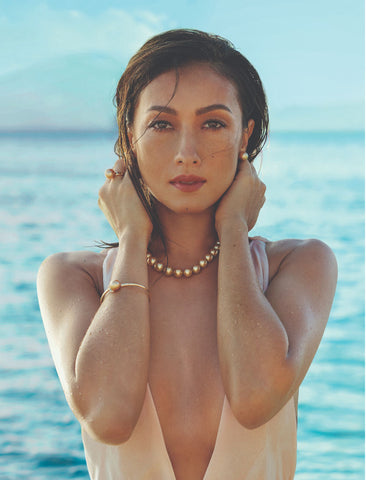 French-Filipino model and actress Solenn Marie Adea Heussaff-Bolzico in Jewelmer pearls