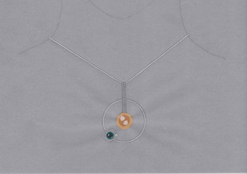Sun, Earth, Moon pendant in 18k gold with cultured white and Tahitian South Sea pearls and diamonds by Ivy Yan Ni Teong of Juwelen Design