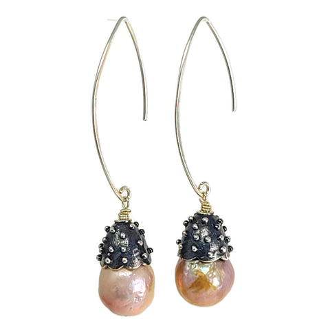 True Grit Threader earrings in silver with pearls