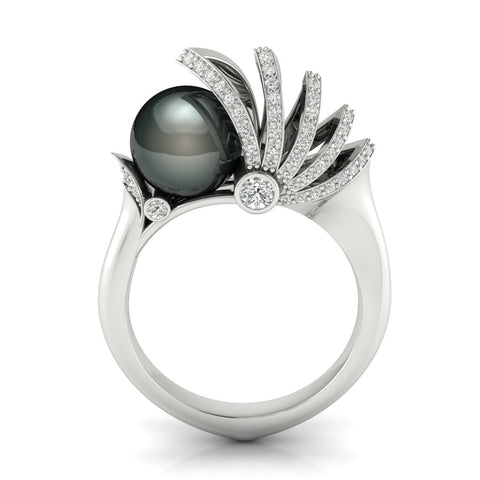 Sailing pearl ring in 18k white gold with diamonds and an 8 mm black pearl by W.A Chamal Jayaratna, founder EON Master Model, Sri Lanka