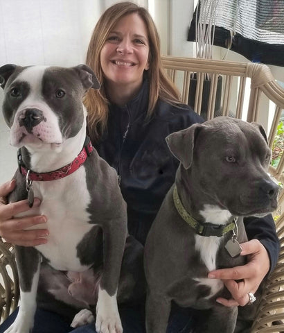 Annette Wachter of RudyBlu Jewelry with her dogs, Rudy and Blue