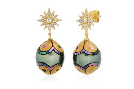 Mosaic Pearl earrings by Samira Sizdahkani of Samira 13 Jewelry