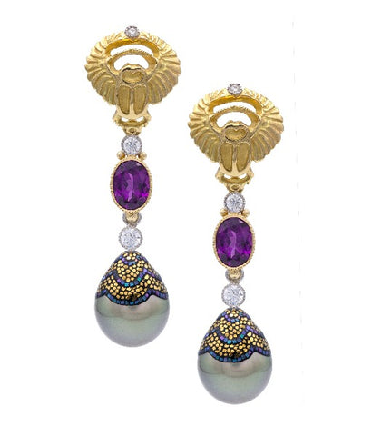 Earrings with grape garnets, diamonds, and mosaic pearls from Deirdre Featherstone