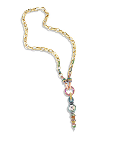 Rosa Van Parys took the Best Use of Color award as part of the American Gem Trade Association's Spectrum & Cutting Edge Awards this year for the Links 3.5 necklace with the Zaha Tahitian pearl pendant and rainbow dagger.