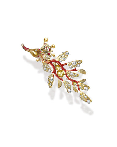 Flood Dragon brooch in 18k gold with cultured baroque golden South Sea and white akoya pearls, coral, and diamonds by Yen-Yu Lee of Liang You Coral Design Corporation (Taiwan)