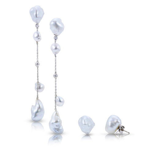Convertible Glamorous Keshi Swing earrings by Dilly Kirby of Elizabeth Blair Fine Pearls