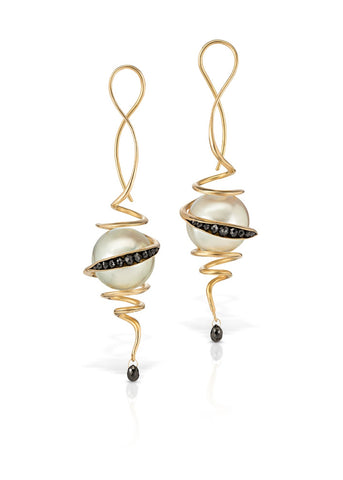 Black diamond and pearl earrings in 18k gold with cultured white South Sea pearls and black diamonds by Timo Krapf of TBK Jewelry