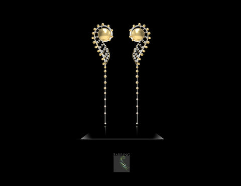 Fern After Rain earrings with golden cultured South Sea and cultured akoya pearls by Liao Shu-Fen and Wang Hao-Chen