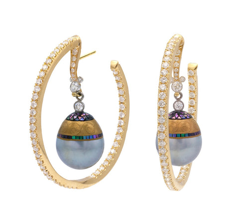 Hoop earrings with diamonds and mosaic pearls from Deirdre Feathersone