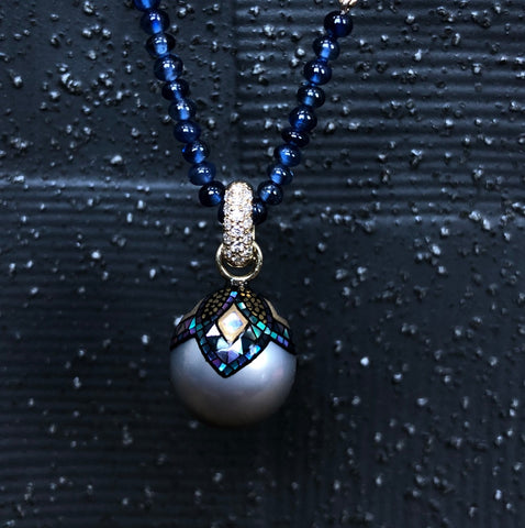 Mosaic pearl pendant necklace available from Erica Courtney