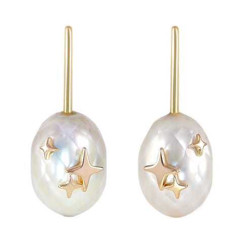 Radiant earrings in 10k gold with faceted pearls by Mika Murai of Mika Jewellery