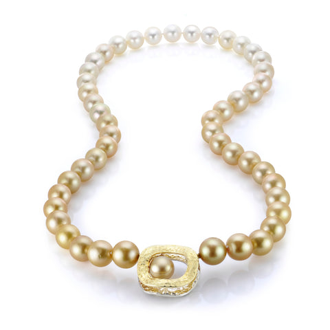 •	Golden pearl strand with Wavy O interchangeable clasp by Llyn Strong of Llyn Strong Jewelry
