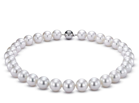 Necklace with 14 mm to 15 mm white South Sea pearls and an 18k white gold clasp, $126,000; Mastoloni