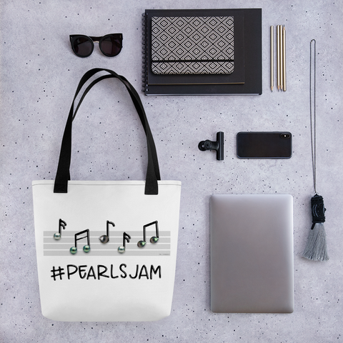Pearls Jam Tote Bag with Custom Diamondoodles Illustration