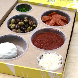 Mozzarella, Chorizo & Olives skinny pizza meal kit - Build your own (4 portions)