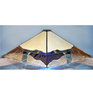 Large stained glass lamp with organic and architectural lines made by Vermont artist Julia Brandis. Mission style / Prairie style.
